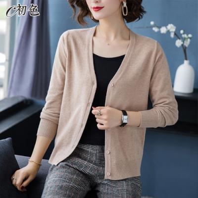 初色  寬鬆純色毛衣外套-共7色-(F可選)