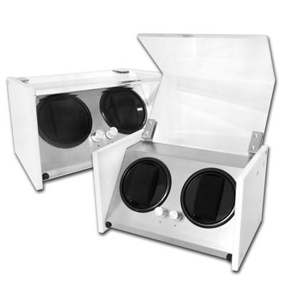 機械錶自動上鍊收藏盒 2旋2入錶座轉動 壓克力 - 白色