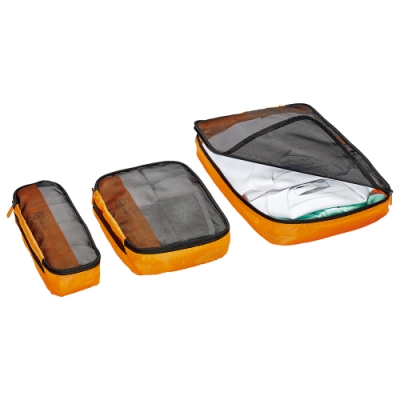 Go Travel 網紋衣物收納袋三件組 - 橙
