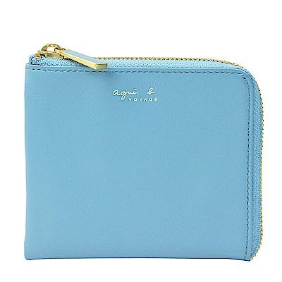 agnes bVOYAGE 草寫字母皮革L型拉鍊卡夾零錢包(淺藍)