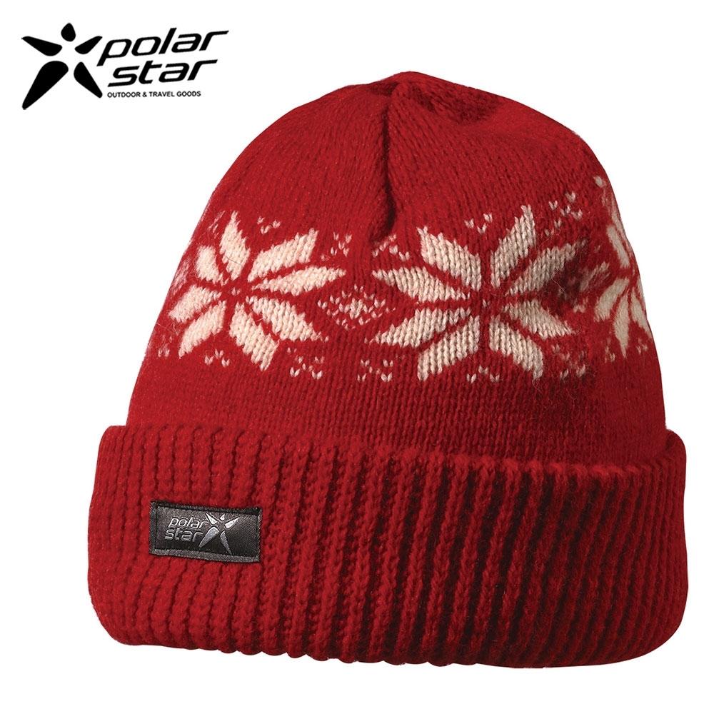 PolarStar 台灣製 反摺橫條羊毛保暖帽 P13606『紅』