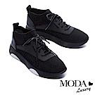 休閒鞋 MODA Luxury 潮流線條異材質拼接厚底休閒鞋-黑