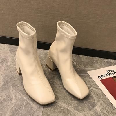 KEITH-WILL時尚鞋瘋時尚視覺個性顯小腳高粗跟鞋-米色