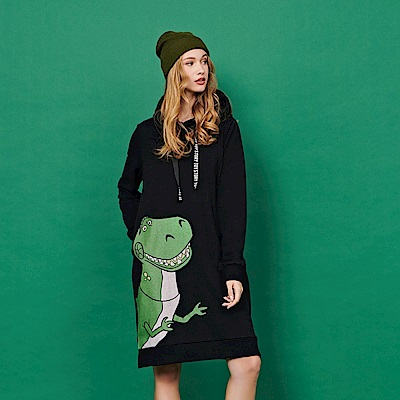 CACO-抱龍厚絨連帽洋裝-(兩色)-女【RDI027】