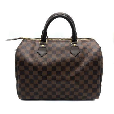 Louis Vuitton Damier Speedy 30棋盤格手提波士頓包(咖)