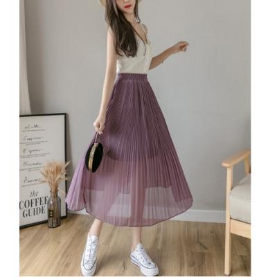 2F韓衣-簡約舒適內襯雪紡紗造型裙-3色-(S-XL)