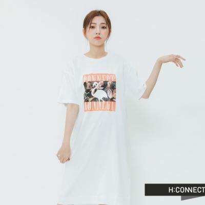 H:CONNECT 韓國品牌 女裝 -夏日圖印休閒洋裝-白(快)