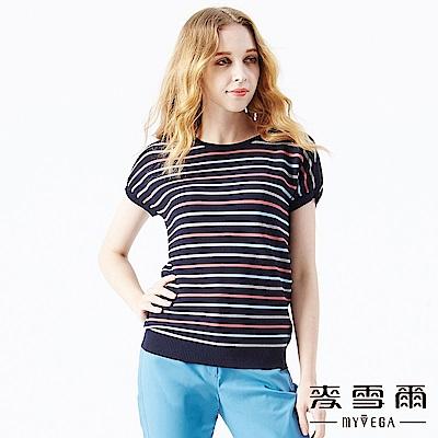 【麥雪爾】立體簡約撞色橫條紋針織衫