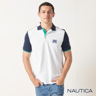 Nautica撞色拼接衣袖短袖POLO衫-白