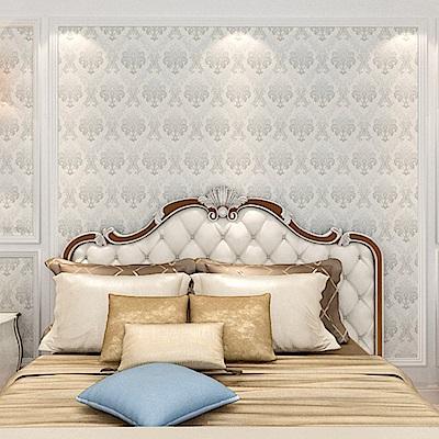 半島良品 防水PVC自黏裝飾牆紙45x200cm-歐式花紋(白)