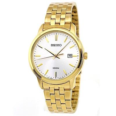 SEIKO 金燦光輝放射紋石英腕錶(SUR264P1)-白/41mm