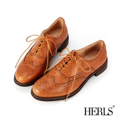 HERLS牛津鞋-全真皮雕花圓頭粗低跟紳士牛津鞋-棕色