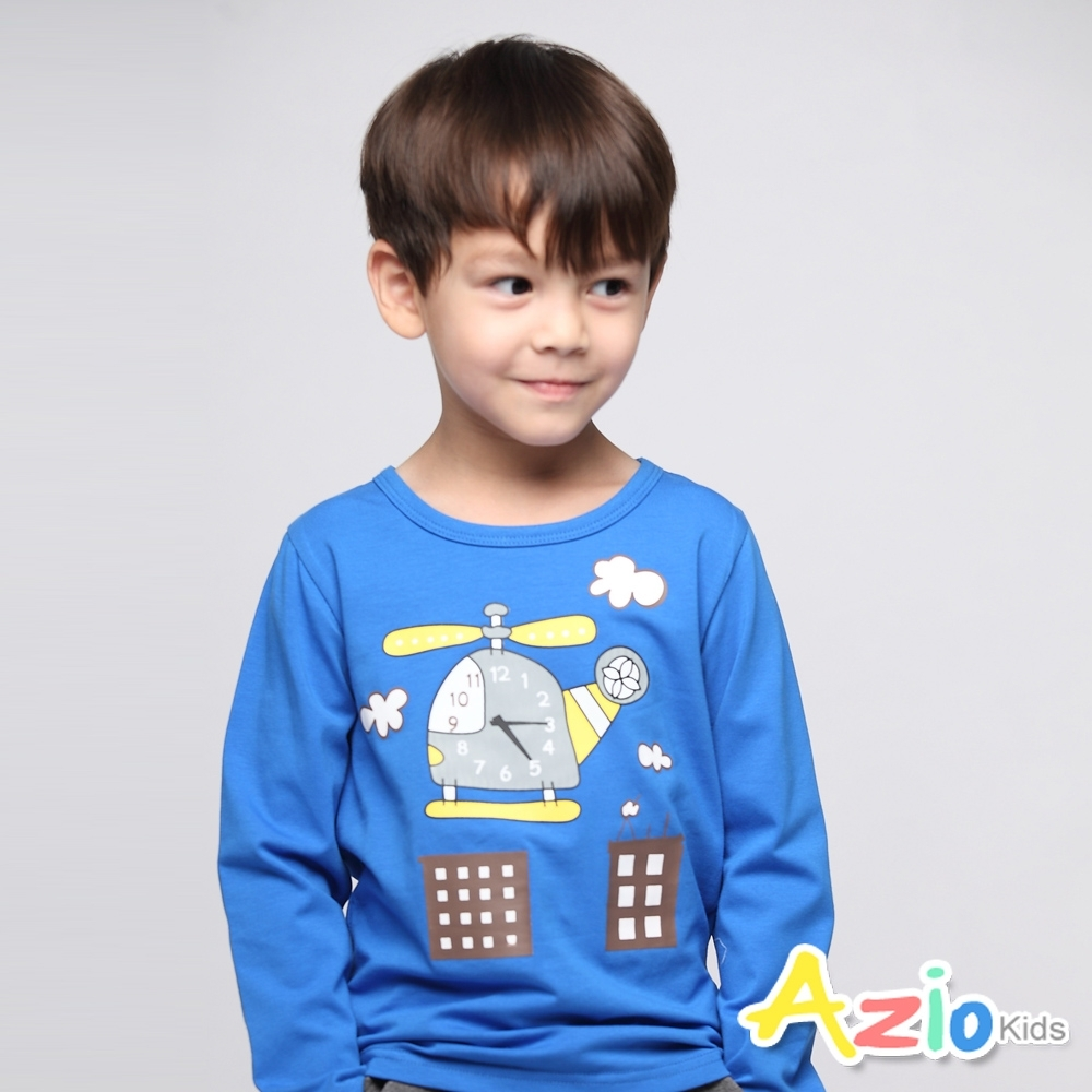 Azio Kids 男童 上衣 直升機時鐘長袖上衣(藍)