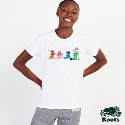 Roots女裝-  曠野探索系列 Q版海狸短袖T恤-白色