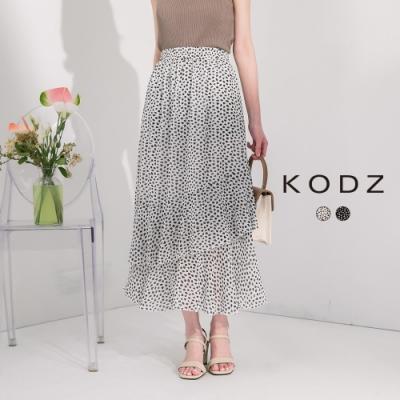 東京著衣-KODZ 夏日經典時髦豹紋層次長裙-S.M.L(共二色)