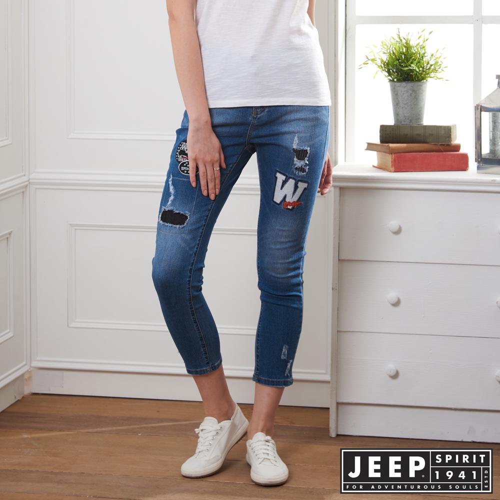 JEEP 女裝 拼接圖騰造型牛仔褲