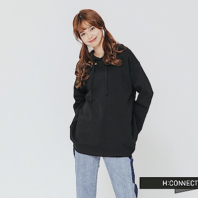 H:CONNECT 韓國品牌 女裝-落肩印字連帽上衣-黑