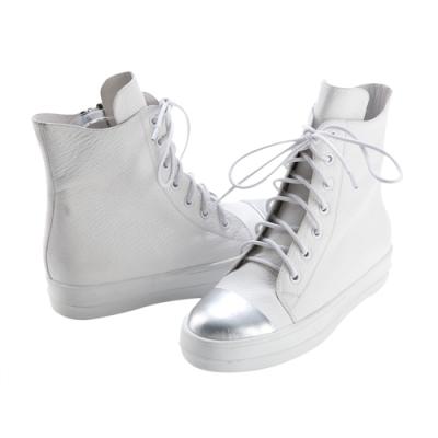 Robinlo 奶油頭牛皮綁帶休閒平底短靴 白色