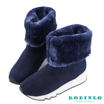 Robinlo 嚴選牛絨厚毛中筒雪靴 藍色