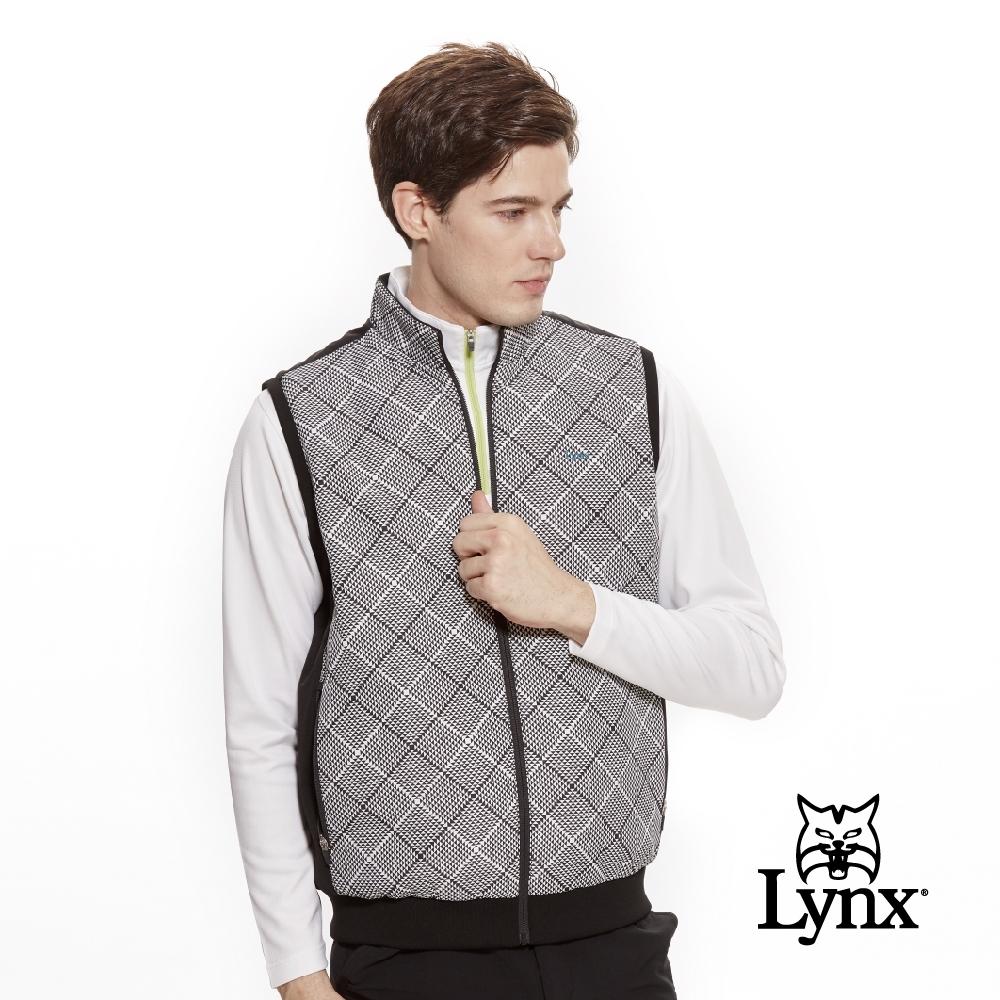 【Lynx Golf】男款防風保暖幾何圖形無袖背心-黑色
