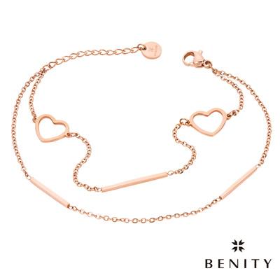BENITY 心瓣 細緻手鍊 典雅款式 醫療級抗敏 白鋼 IP玫瑰金 女手鍊