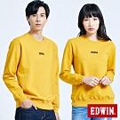 買一送一 EDWIN LOGO繡花內刷毛 厚長袖T恤-中性-黃色
