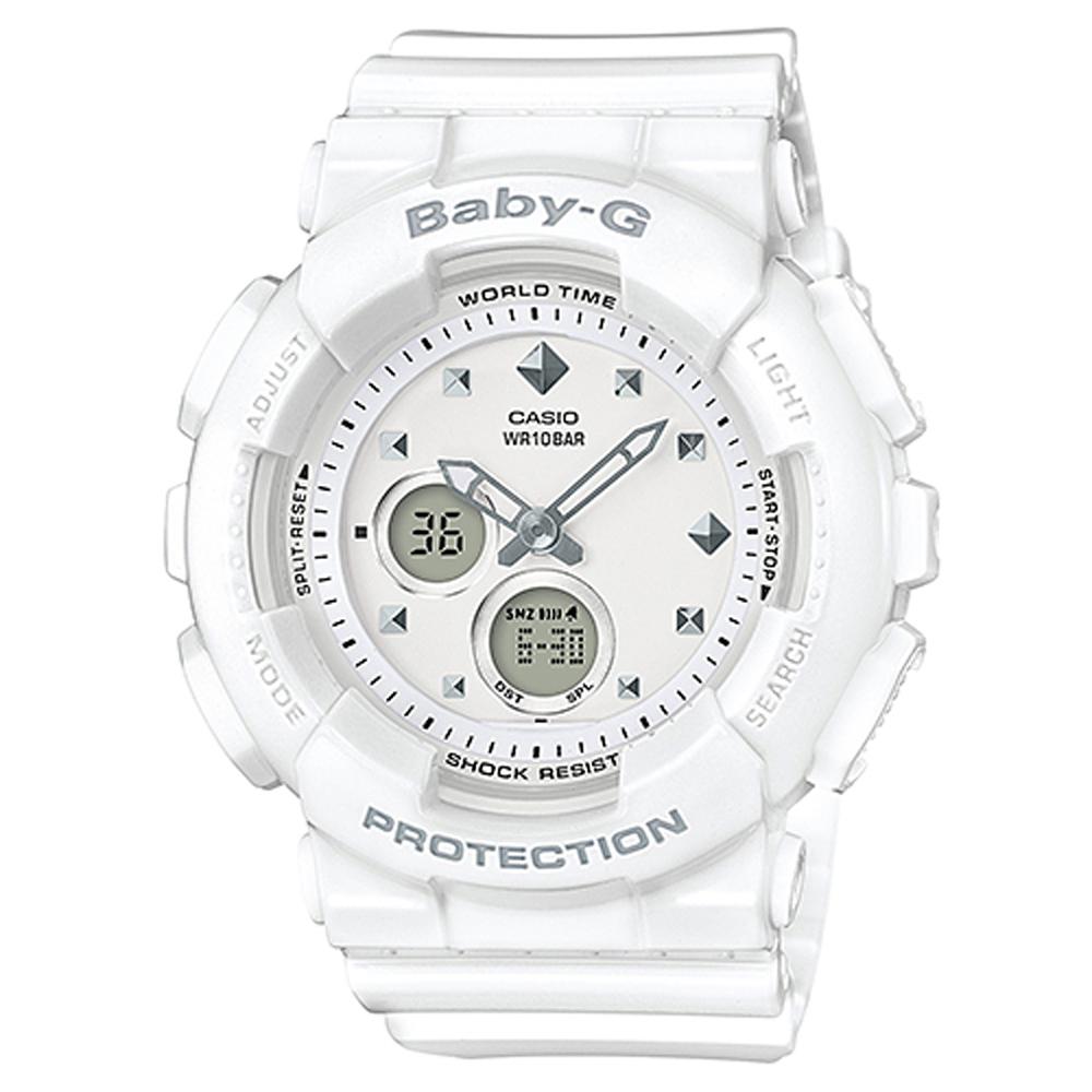 BABY-G 搖滾金屬鉚釘風隨性概念休閒運動錶(BA-125-7A)白43.4mm
