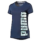 PUMA-女性基本系列ATHLETIC短袖T恤-馬尾藻海藍-亞規