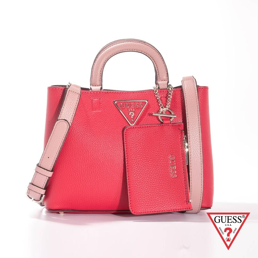 GUESS-女包-簡約素面荔枝紋手提肩背包-紅 原價3490