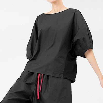 立裁燈籠袖素面拼接廓型衫-(共二色)Andstyle