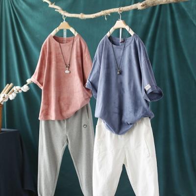 純棉扎染圓領T恤寬鬆休閒時尚韓版短袖上衣-設計所在