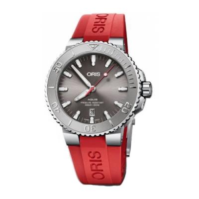 Oris 豪利時 Aquis  Relief 灰面紅色橡膠款x43.5mm