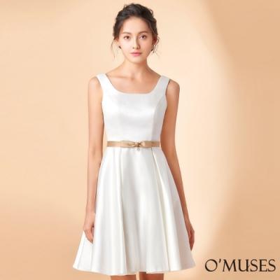 OMUSES 簡約壓褶A-Line裙襬短禮服