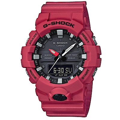 G-SHOCK 實用必備絕對強悍元素設計休閒錶(GA-800-4A)紅色48.6mm