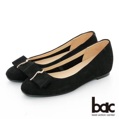 【bac】復古風潮 - 麂皮小方頭鑽飾平底鞋-黑