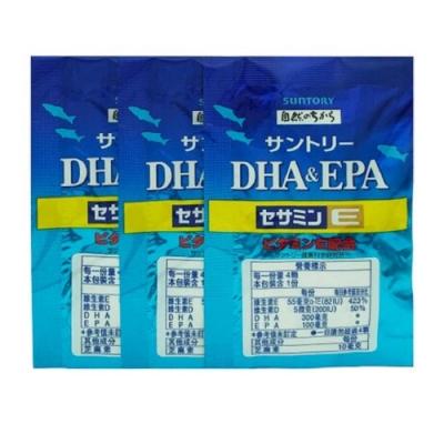可折價券後1584 - SUNTORY 三得利 魚油 DHA&EPA+芝麻明E (4錠 X 30包) (隨機加贈隨身包x1)