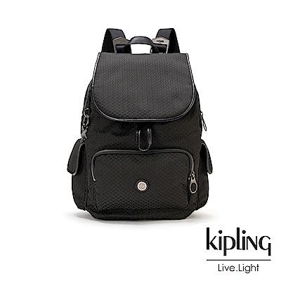 Kipling 內斂霧黑壓紋拉鍊掀蓋後背包-CITY PACK S