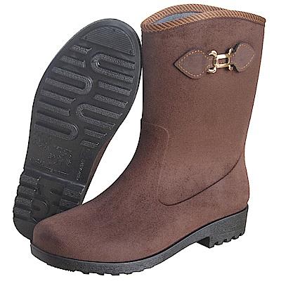 MIT仿麂皮絨面中筒雨靴(咖啡)J-258