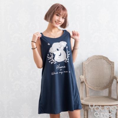 睡衣 彈性棉質無袖連身睡衣(C01-100692熊愛在一起) Young Curves