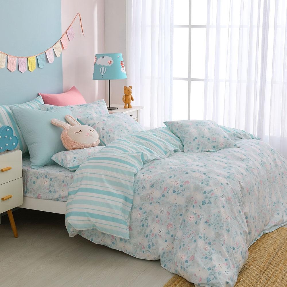 鴻宇 100%精梳棉 眠眠兔藍 雙人加大四件式薄被套床包組