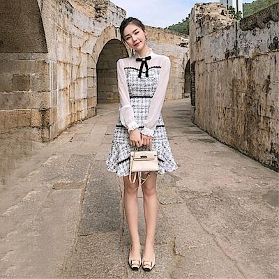 DABI 韓系粗紡毛呢拼接修身長袖洋裝