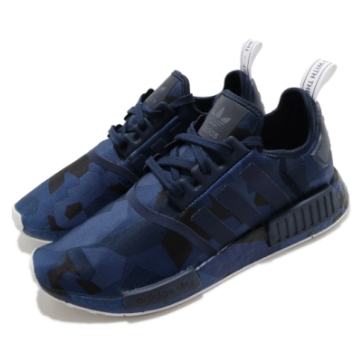 adidas 休閒鞋 NMD R1 襪套式 女鞋 海外限定 愛迪達 三葉草 緩震 Boost 藍 黑 EF4264