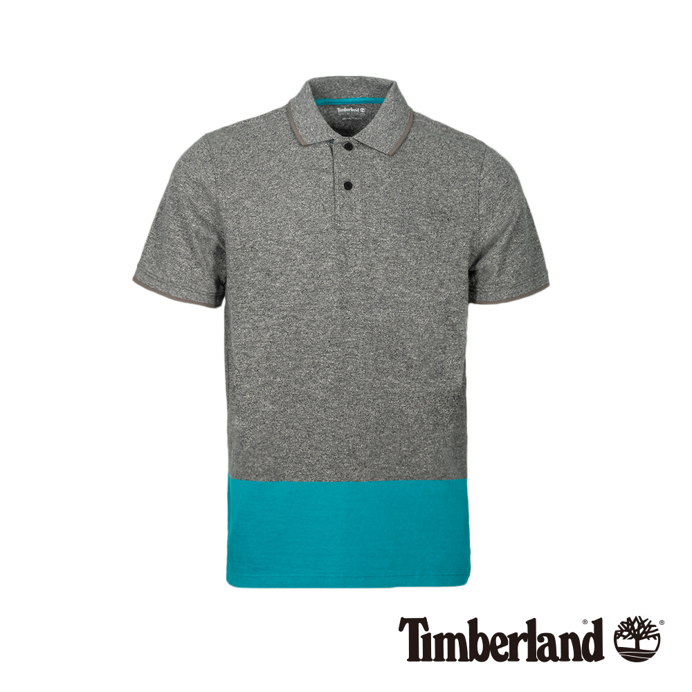 Timberland 男款灰x藍綠撞色短袖POLO衫 A1LZK