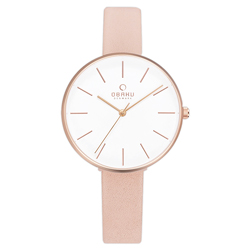 OBAKU日系典雅皮革女腕錶-粉紅(V211LXVIRX)/36mm
