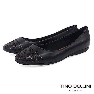 Tino Bellini 巴西進口牛皮精緻皮雕舒適娃娃鞋 _ 黑