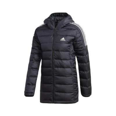 adidas 外套 Essentials Parka 休閒 女款 愛迪達 羽絨 鴨絨 保暖 修身 連帽 黑 白 GH4590