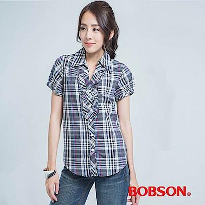 BOBSON  女款格子長版襯衫