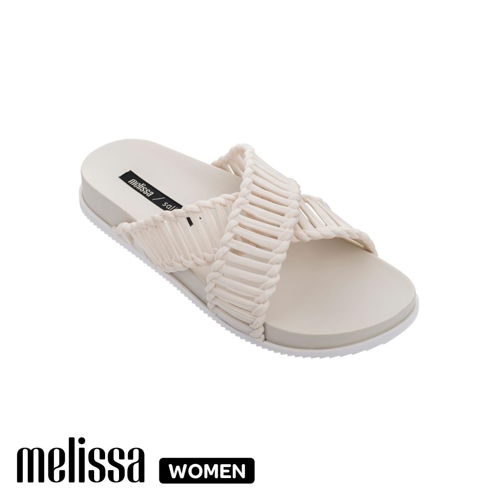 MelissaSalinas聯名編織交叉拖鞋 象牙白