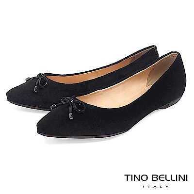 Tino Bellini巴西進口復古奢華絨布平底娃娃鞋_黑