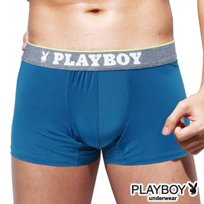 PLAYBOY 素面輕薄涼感絲沁涼彈性四角褲-單件-青藍